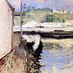 William Merritt Chase - Sheds and Schooner Gloucester