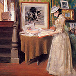 William Merritt Chase - Interior Young Woman at a Table