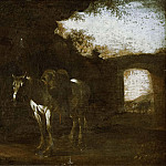 Charles XV of Sweden - Landscape with Ruins and a Saddled White Horse [Attributed]