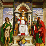 Evaristo Baschenis - St. Peter enthroned with Saints John the Baptist and Paul