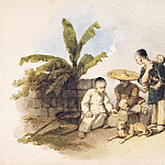 Chinese Scene with Seated Figures Playing a Game, Gu Yue Chinese