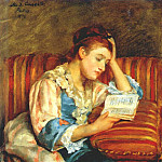 Mary Cassatt - mrs duffee seated on a striped sofa, reading 1876