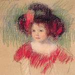 Mary Cassatt - Margot in Big Bonnet and Red Dress