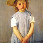 Mary Cassatt - little girl in big straw hat and pinafore c1886