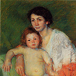 Mary Cassatt - Nude Baby on Mother-s Lap Resting Her Arm on the Back of the Chair