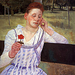 Mary Cassatt - Reverie aka Woman with a Red Zinnia