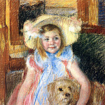 Mary Cassatt - Sara in a Large Flowered Hat Looking Right Holding Her Dog