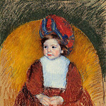 Mary Cassatt - Margot in a Dark Red Costume Seated on a Round Backed Chair