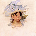Mary Cassatt - Sketch of -Ellen Mary Cassatt in a Big Blue Hat-
