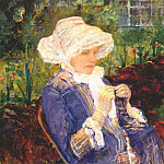 Mary Cassatt - lydia crocheting in the garden at marly 1880