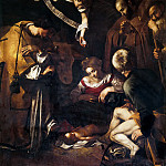 Nativity with Saints Lawrence and Francis, Michelangelo Merisi da Caravaggio