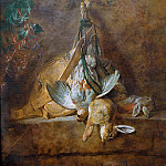 Two rabbits, a partridge and hunting pouch, Jean Baptiste Siméon Chardin