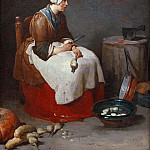 Woman paring turnips