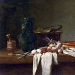 Still Life with Pestle and Mortar, Pitcher and copper Cauldron, Jean Baptiste Siméon Chardin