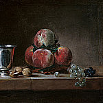 Jean Baptiste Siméon Chardin - Still Life with Peaches, a Silver Goblet, Grapes, and Walnuts