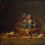 Basket with Plums, Nuts, Currants and Cherries, Jean Baptiste Siméon Chardin