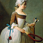 Girl with Racket and Shuttlecock, Jean Baptiste Siméon Chardin