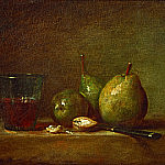 Pears, walnuts and a glass of wine, Jean Baptiste Siméon Chardin