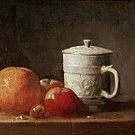 Still life with fruit, glass bottle and fayence pottery, Jean Baptiste Siméon Chardin