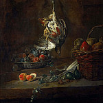 Jean Baptiste Siméon Chardin - Dead Partridge Hung by One Leg, Bowl with Prunes, and a Basket with Pears