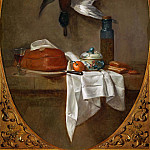 Duck Hung by a Leg, Pie, Bowl and Pot with Olives, Jean Baptiste Siméon Chardin