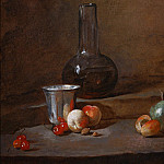 Carafe of Wine, Silver Goblet, Five Cherries, Two Peaches, an Apricot and a Green Apple, Jean Baptiste Siméon Chardin