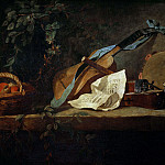 Musical Instruments and Basket of Fruit, Jean Baptiste Siméon Chardin
