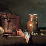 Jean Baptiste Siméon Chardin - Still life with a copper pot and a piece of salmon