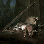 Dead Hare with Gun, Hunt Satchel and Powder Horn, Jean Baptiste Siméon Chardin