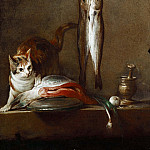 A cat with a piece of salmon,two mackerels, mortar and pestle, Jean Baptiste Siméon Chardin