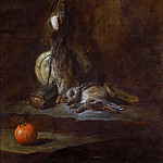 Two Dead Hares with Game-bag, Powder Flask and Orange, Jean Baptiste Siméon Chardin