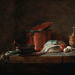 Kitchen Utensils with Leeks, Fish, and Eggs, Jean Baptiste Siméon Chardin