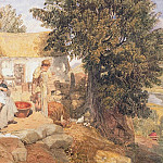 Joshua Cristall - Cottages near Symonds Yat with country figures