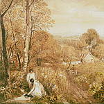 Wooded landscape with cottages and countrywomen, Hurley, Berks