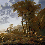 Aelbert Cuyp - Evening landscape With Horsemen And Shepherds