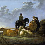 Aelbert Cuyp - Peasants With Four Cows By The River Merwede