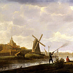 View of Dordrecht with a hunter and fishermen, Aelbert Cuyp