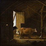 Balthasar Denner - Interior of a Cowshed