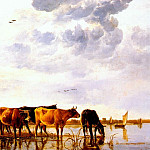 Aelbert Cuyp - cuyp cattle in a river c1650
