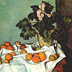 Paul Cezanne - still life- apples and pot of primroses early-1890s