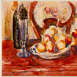 Paul Cezanne - STILL LIFE- APPLES, BOTTLE AND CHAIRBACK,1902-06, (W