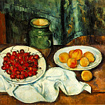 Paul Cezanne - STILL LIFE WITH PLATE OF CHERRIES,1885-87, Los Angeles