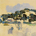 Paul Cezanne - HOUSES ON THE HILL, 1900-06