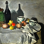 Pots, bottle, cup, and fruit