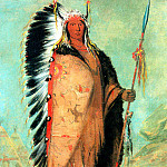 Chief Black Rock a Plains Indian wearing Eagle feathers and Buffalo robe sqs, Al Black