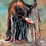 George Catlin - White Buffalo Medicine Man wears Bearskin as he prays over a dying man