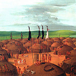George Catlin - Rooftop View of a Mandan Village