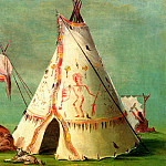 George Catlin - A Crow Tepee made of decorated Buffalo skins