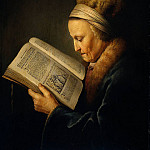Gerrit Dou - Old woman reading dictionary