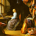Gerrit Dou - A Woman Playing A Clavichord